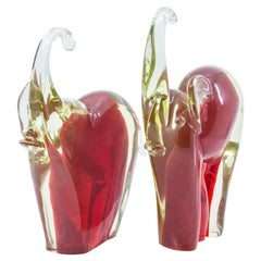 Pair of Hand Blown Murano Glass Elephant Book-Ends