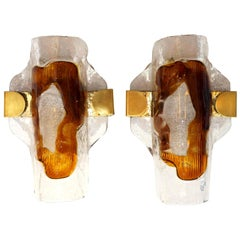Pair of Hand Blown Murano Glass Wall Lights or Sconces by Hilebrand, 1960