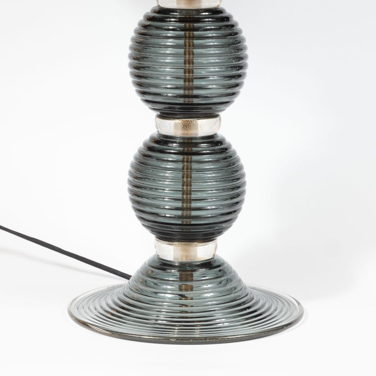 Modern Pair of Hand Blown Murano Ribbed & Smoked Glass Table Lamps with Brass Fittings For Sale