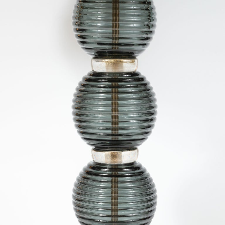 Italian Pair of Hand Blown Murano Ribbed & Smoked Glass Table Lamps with Brass Fittings For Sale