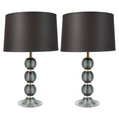 Pair of Hand Blown Murano Ribbed & Smoked Glass Table Lamps with Brass Fittings