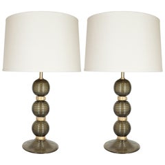 Pair of Hand Blown Smoked Moss Hued Murano Lamps with 24-Karat Gold Bands