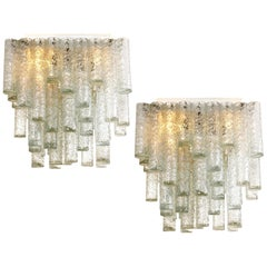 Pair of Hand Blown Square Flushmount Chandeliers from Doria, 1960s