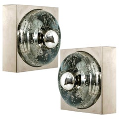 Pair of Hand Blown Wall or Ceiling Lights, Doria, 1970