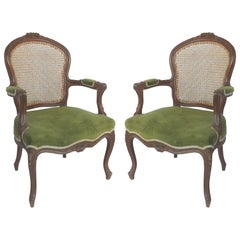 Pair of Hand Caned French Louis XV Style Fauteuil Armchairs with Velvet Mohair