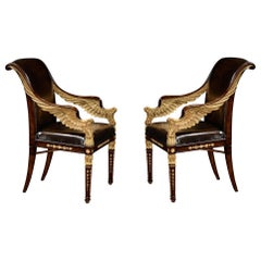 Pair of Hand Carved Antique Style Armchairs in Gold Leaf