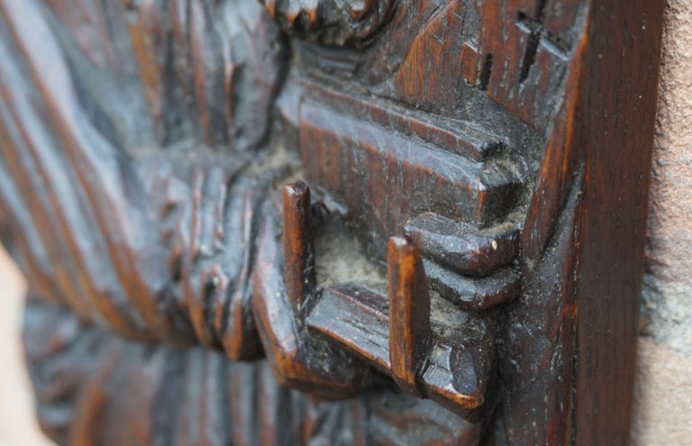 Oak Pair of Hand Carved Antique Wall Plaques with Apostles or Clergyman Sculptures For Sale