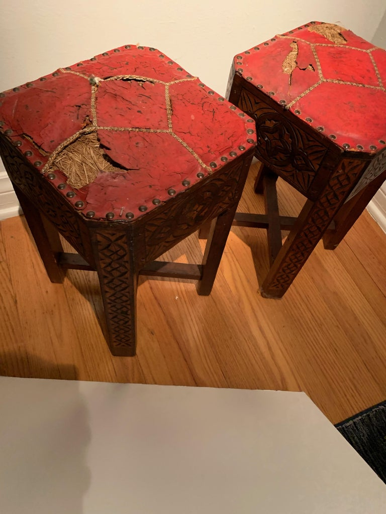 Arts and Crafts Pair of Hand Carved Arts & Crafts Stools For Sale