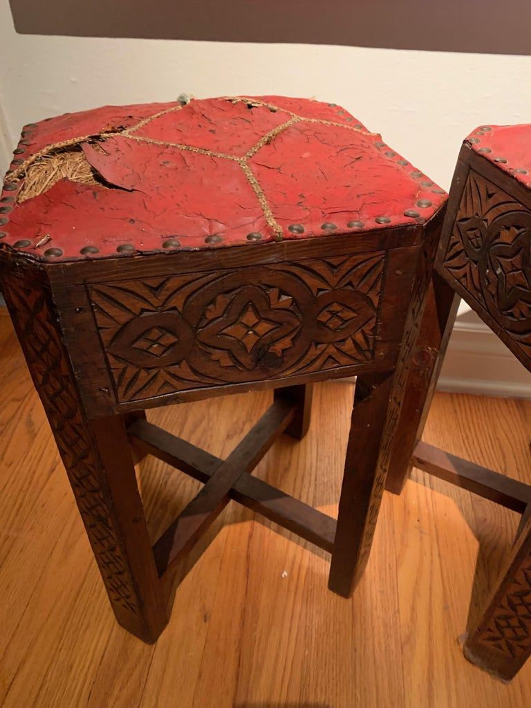 Pair of Hand Carved Arts & Crafts Stools In Good Condition For Sale In Los Angeles, CA