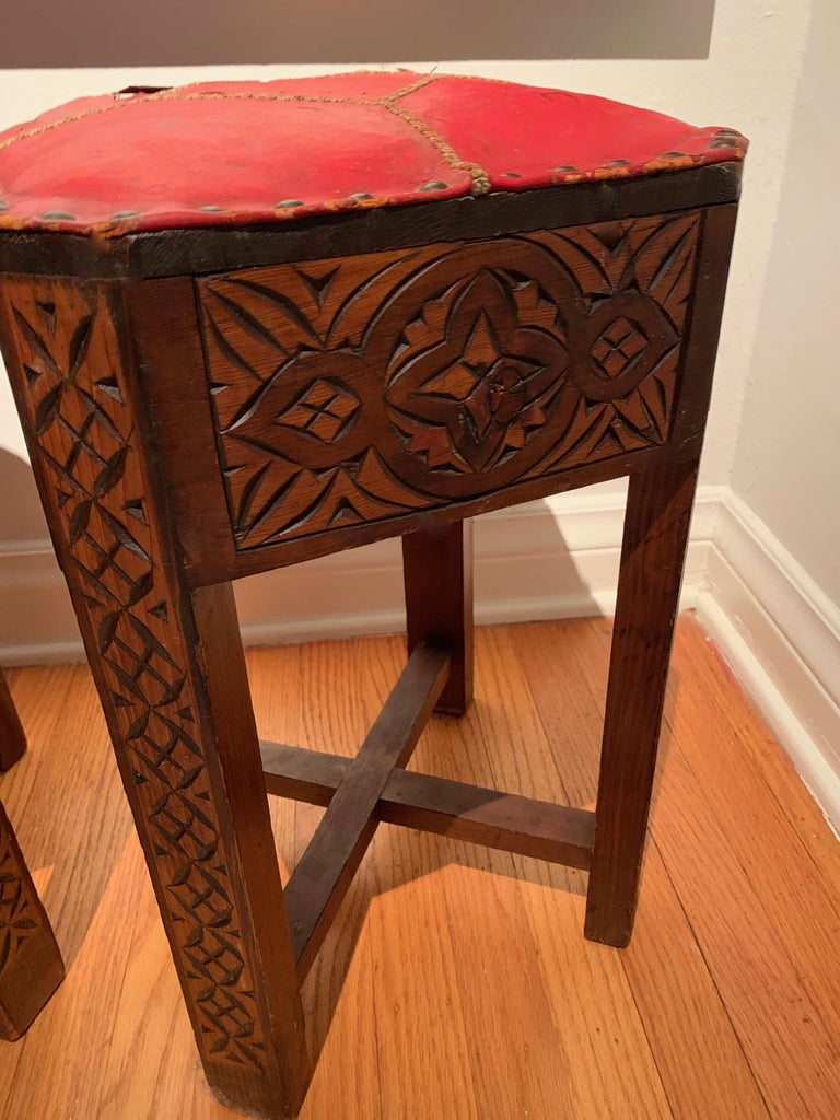20th Century Pair of Hand Carved Arts & Crafts Stools For Sale