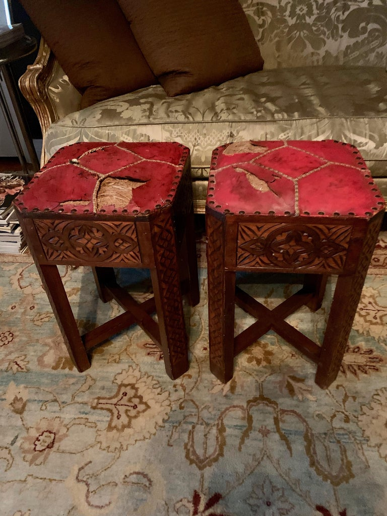 Leather Pair of Hand Carved Arts & Crafts Stools For Sale
