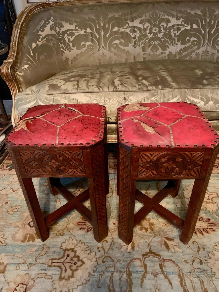 Pair of Hand Carved Arts & Crafts Stools For Sale 1
