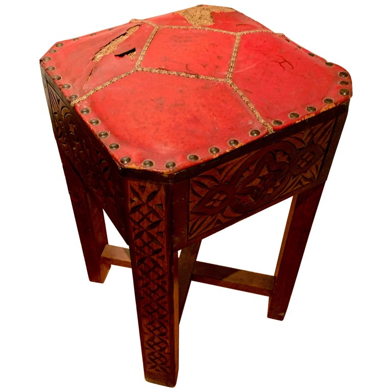 Pair of Hand Carved Arts & Crafts Stools For Sale