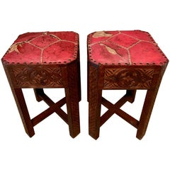 Pair of Hand Carved Arts & Crafts Stools