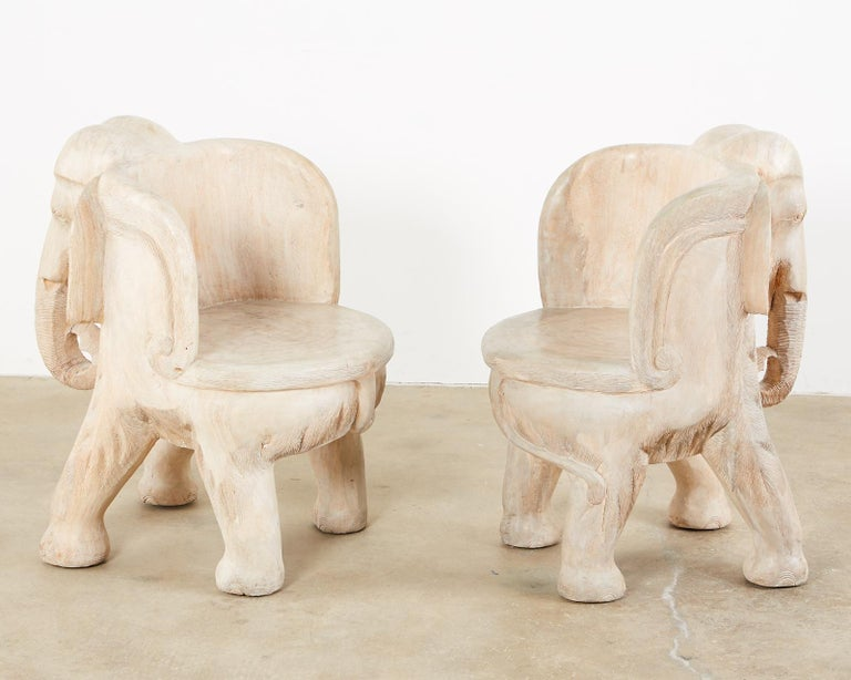 Pair of Hand Carved Bleached Hardwood Elephant Chairs For Sale 4