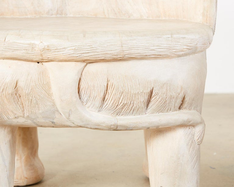 Pair of Hand Carved Bleached Hardwood Elephant Chairs For Sale 5