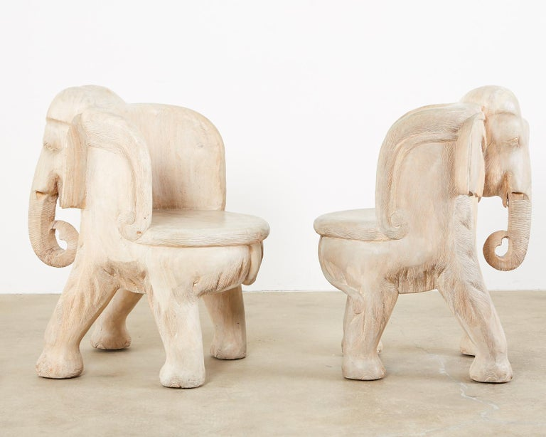 Pair of Hand Carved Bleached Hardwood Elephant Chairs For Sale 6