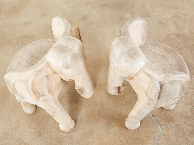 Pair of Hand Carved Bleached Hardwood Elephant Chairs For Sale 7