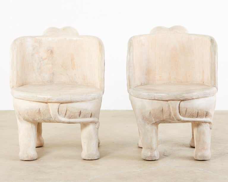 Pair of Hand Carved Bleached Hardwood Elephant Chairs For Sale 8