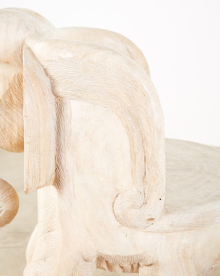 Pair of Hand Carved Bleached Hardwood Elephant Chairs For Sale 11