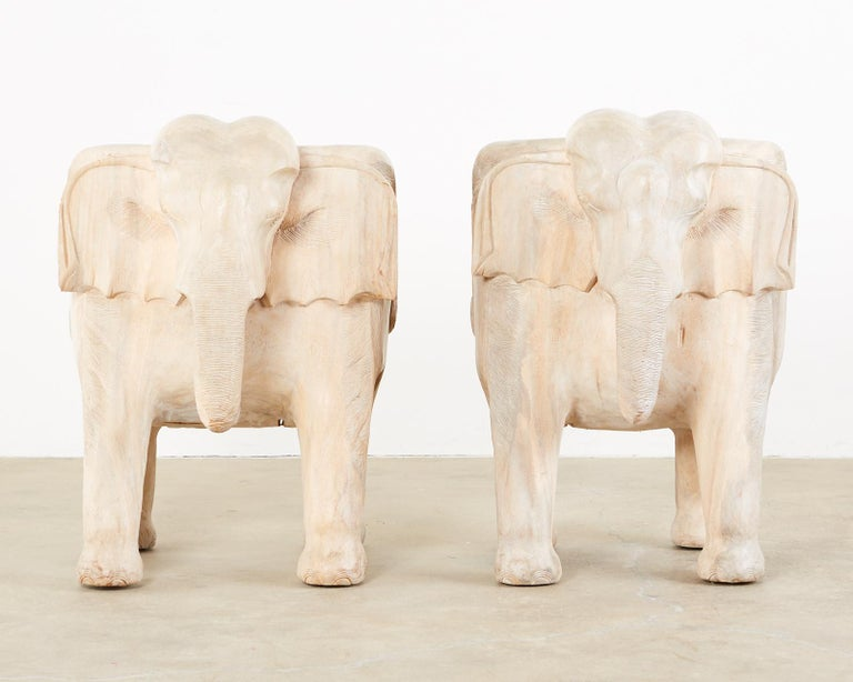 Pair of Hand Carved Bleached Hardwood Elephant Chairs For Sale 13
