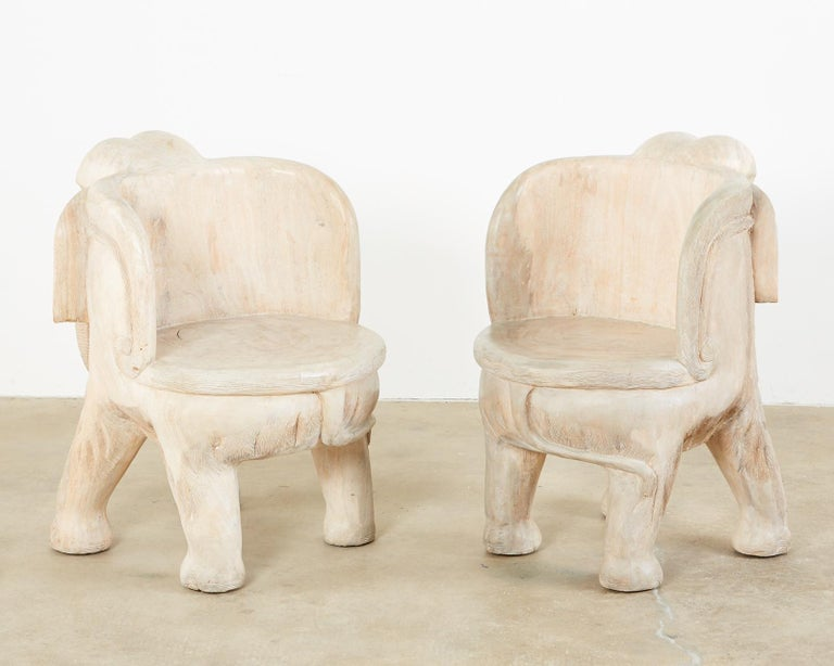 Anglo-Indian Pair of Hand Carved Bleached Hardwood Elephant Chairs For Sale