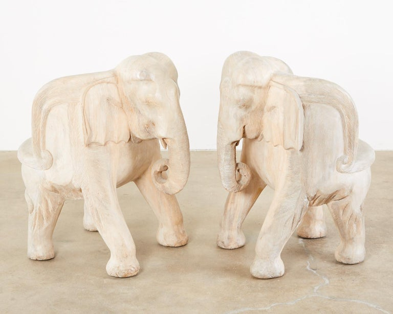 Thai Pair of Hand Carved Bleached Hardwood Elephant Chairs For Sale