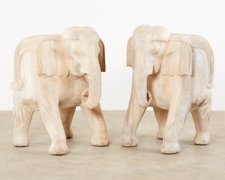 Pair of Hand Carved Bleached Hardwood Elephant Chairs In Good Condition For Sale In Rio Vista, CA
