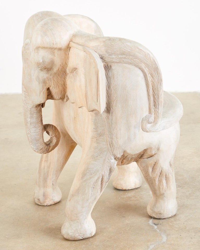Pair of Hand Carved Bleached Hardwood Elephant Chairs For Sale 2