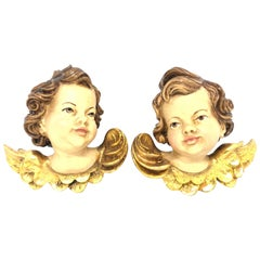 Pair of Hand Carved Cherub Angel Head, Anri, Italy, 1980s