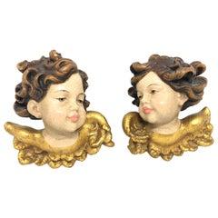 Pair of Hand Carved Cherub Angel Head W. Gilded Wings, German Oberammergau