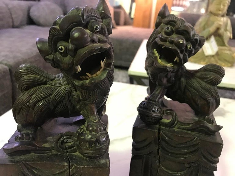 Pair of Hand Carved Chinese Wood Carved, Bone Inlay Foo Dogs, circa Early 1900s For Sale 3