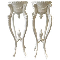 Pair of Hand Carved Decorative White Pedestals for Art or Plants