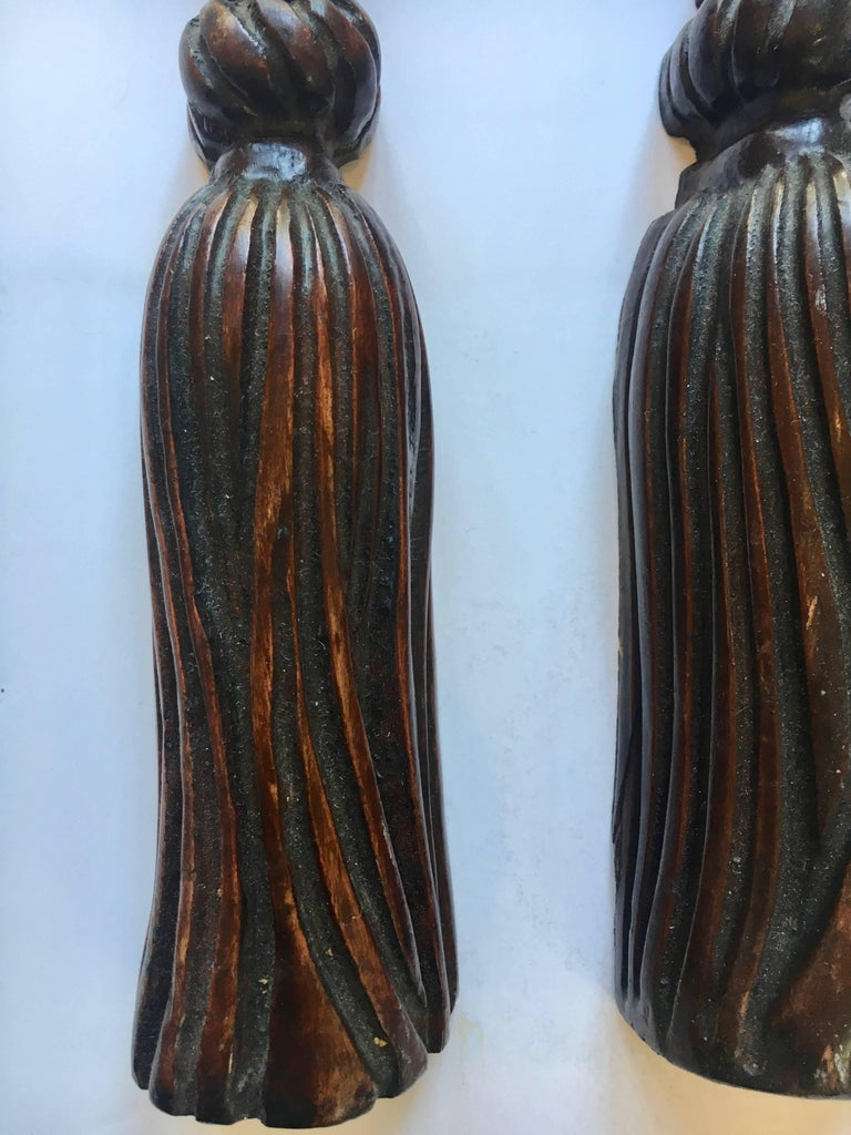 English Pair of Hand-Carved Folk Art Wooden Tassels For Sale
