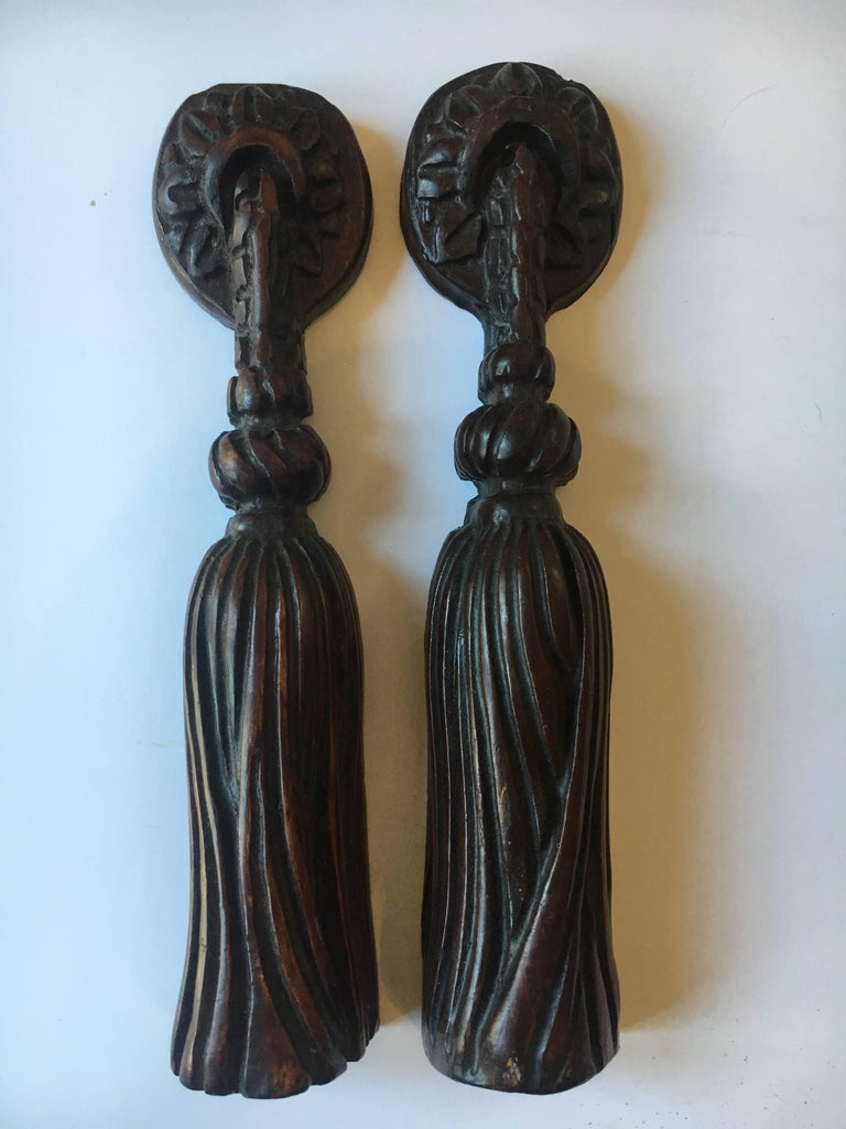 20th Century Pair of Hand-Carved Folk Art Wooden Tassels For Sale