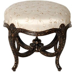 Pair of Hand-Carved Footstools with Embroidered Floral Silk Upholstery
