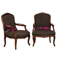 Pair of Hand-Carved French Walnut Fautuils or Armchairs