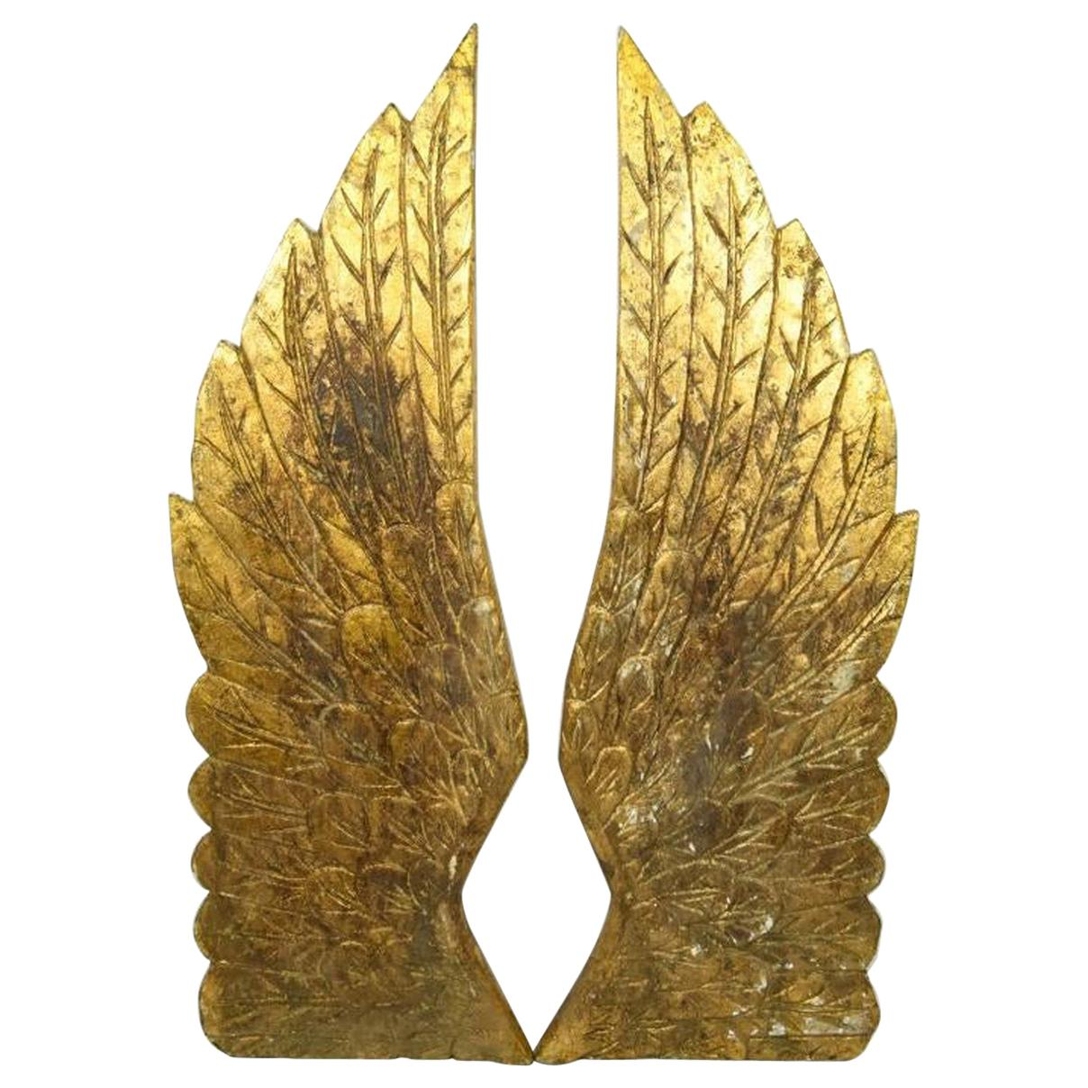 Pair of Hand Carved Gilt and Gesso Angel Wings