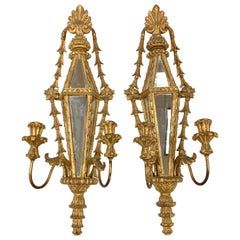 Pair of Hand Carved Giltwood Mirrored Candle Sconces, Palladio, Italy