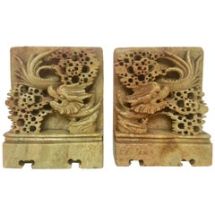 Pair of Hand Carved Green Soapstone Bookends with Asian Chinese Dragon Motif