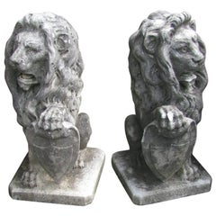 Pair of Hand-Carved Italian Marble Lions