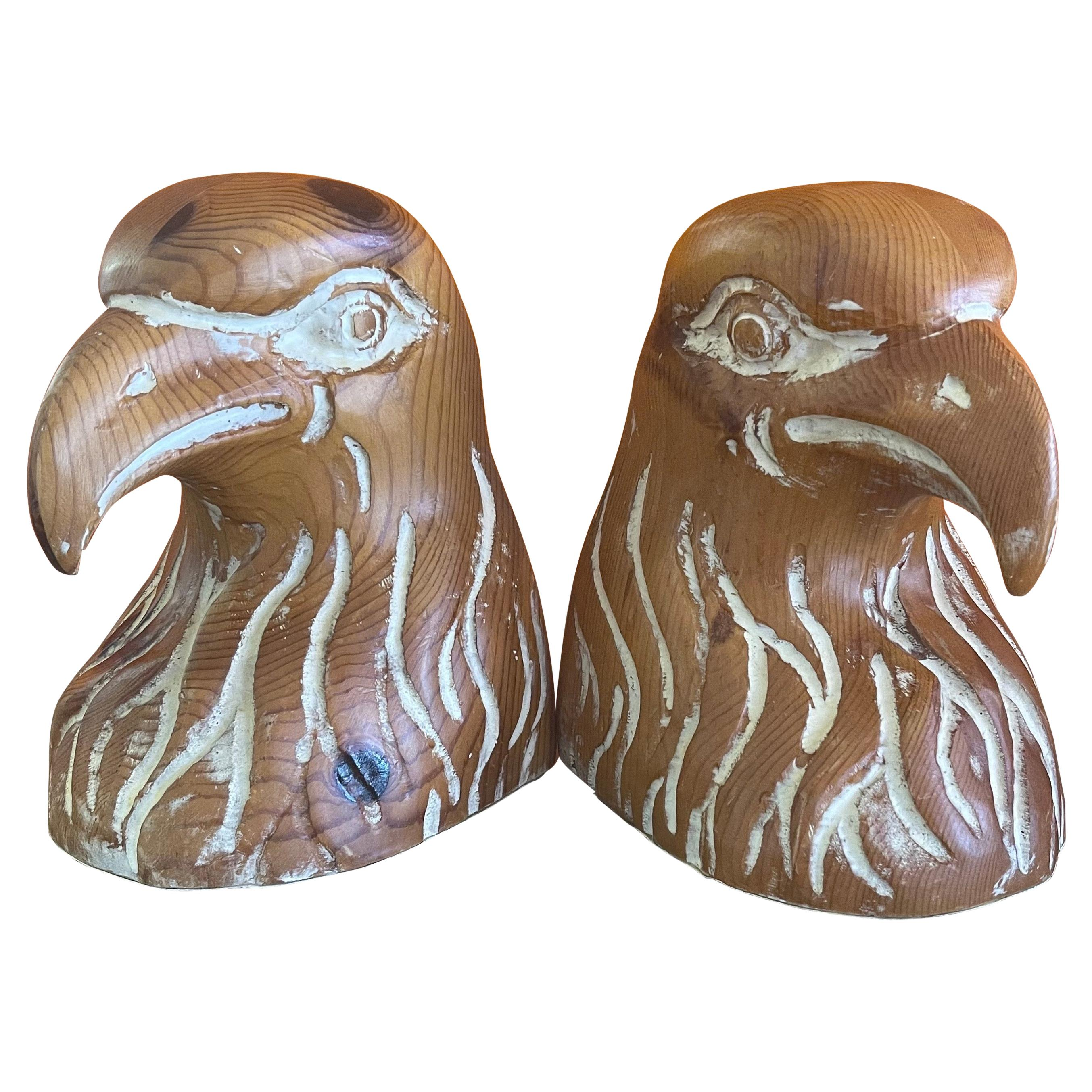 Pair of Hand Carved Knotty Pine Wood Eagle Head Bookends by Sarreid