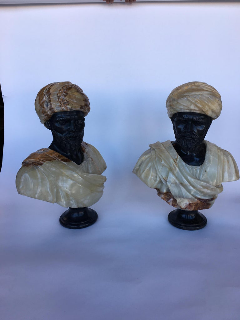 Italian pair of hand carved marble and onyx moros bust, early 20th century.