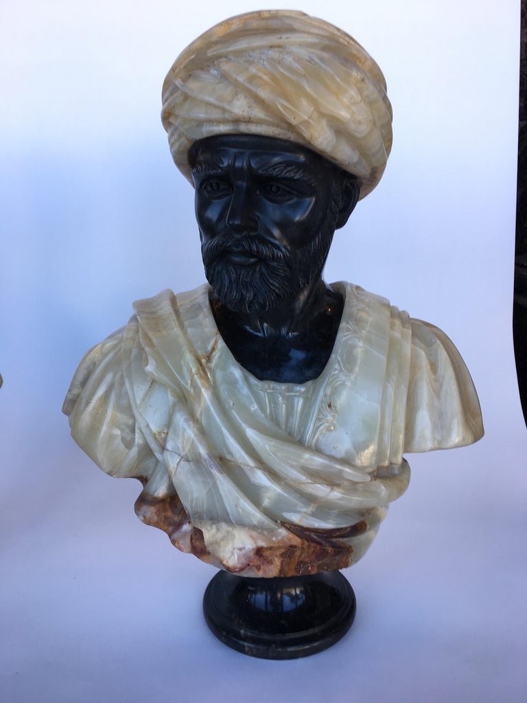 Other Pair of Hand Carved Marble and Onyx Moros Bust For Sale