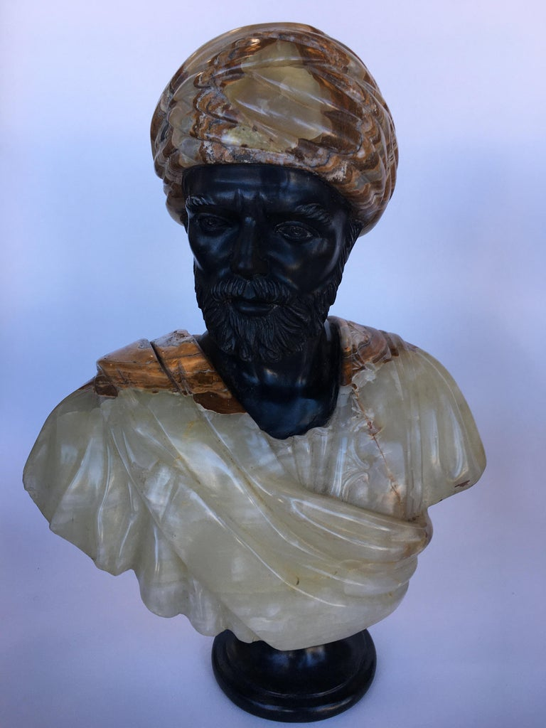 Italian Pair of Hand Carved Marble and Onyx Moros Bust For Sale