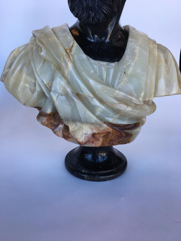 Pair of Hand Carved Marble and Onyx Moros Bust In Good Condition For Sale In Los Angeles, CA