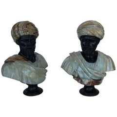 Pair of Hand Carved Marble and Onyx Moros Bust