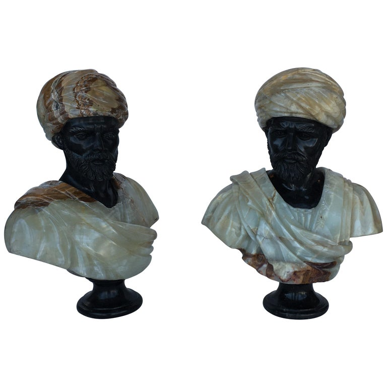 Pair of Hand Carved Marble and Onyx Moros Bust For Sale
