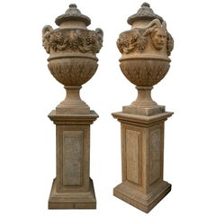 Pair of Hand Carved Marble Urns on Pedestals with Antique Patina