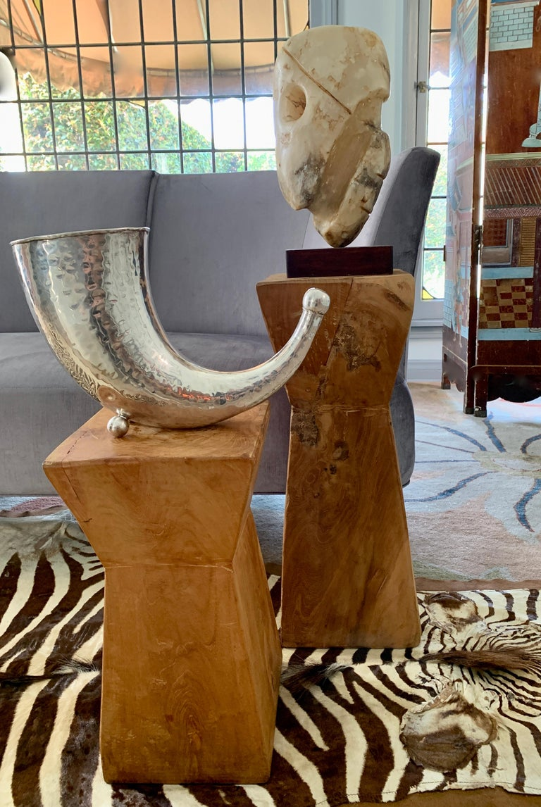 Pair of Hand Carved Organic Wooden Hour Glass Side Martini Tables For Sale 5